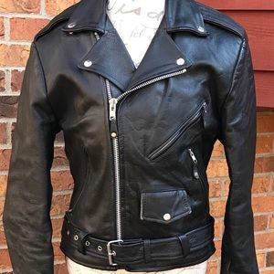 BLACK LEATHER MOTORCYCLE JACKET TANNERY WEST